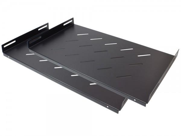 """19"""" Fachboden, seitliche Befestigung, Einbautiefe 270 mm, 2er Set, tiefschwarz (RAL9005), Good Connections®"""