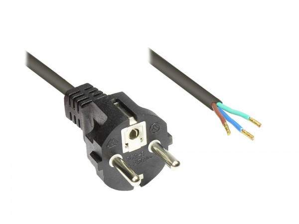 Netzkabel Schutzkontakt-Stecker gerade abisolierte Enden, schwarz, 2m, Good Connections®