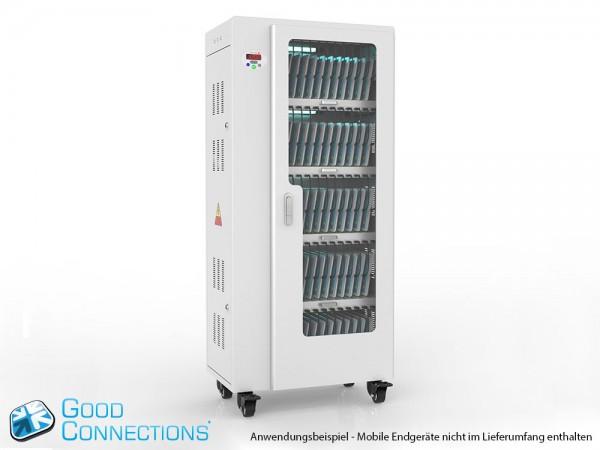 Tablet-Ladewagen für bis zu 65 Geräte, UV-C Desinfektion, Smart Control, Synchronisierungsfunktion für iOS/Android, grau, Good Connections®