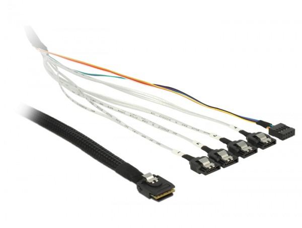 Kabel mini SAS SFF-8087 an 4 x SATA 7 Pin + Sideband 0,5 m Metall, Delock® [83313]
