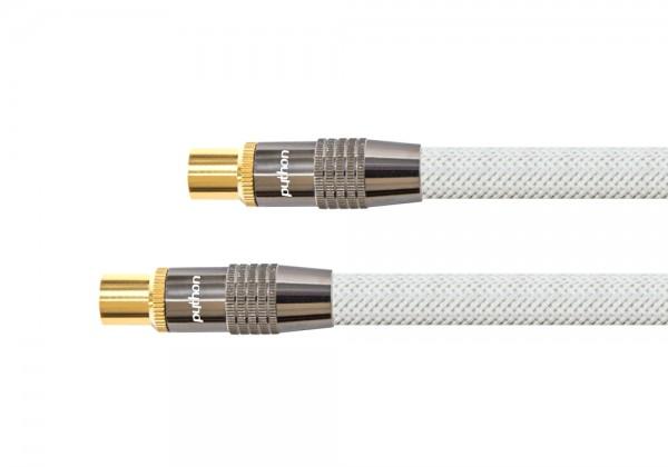 Antennenkabel, IEC/Koax Stecker an Buchse, vergoldet, Schirmmaß 120 dB, 75 Ohm, Nylongeflecht weiß, 1,5m, PYTHON® Series