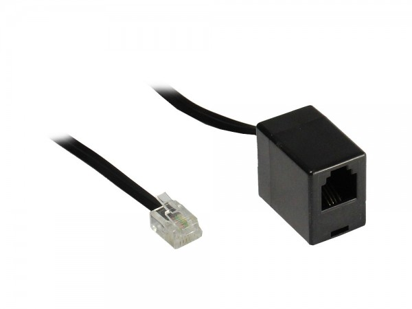 RJ11 Telefonverlängerung, 6p4c Stecker an Buchse, schwarz, 10m, Good Connections®