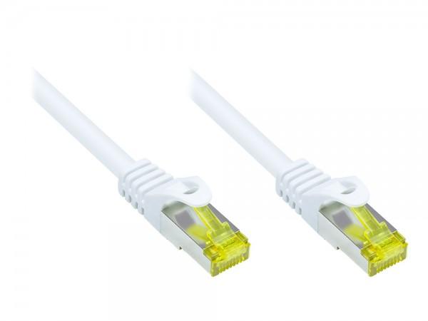 RJ45 Patchkabel mit Cat. 7 Rohkabel und Rastnasenschutz (RNS®), S/FTP, PiMF, halogenfrei, 500MHz, OFC, weiß, 0,15m, Good Connections®