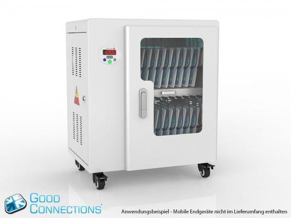 Tablet-Ladewagen für bis zu 20 Geräte, UV-C Desinfektion, Smart Control, Synchronisierungsfunktion für iOS/Android, grau, Good Connections®