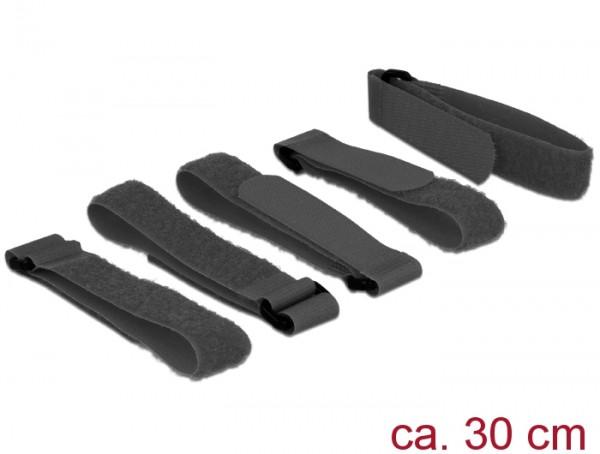Klett-Kabelbinder L 300mm x B 20mm, 5 Stückmit Schlaufe, schwarz, Delock® [18704]