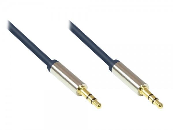 Audio Anschlusskabel High-Quality 3,5mm, 2x Klinkenstecker, Vollmetallgehäuse, dunkelblau, 5m, Good Connections®