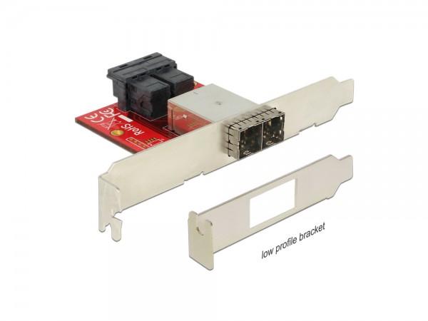 Adapter 2 x Mini SAS HD SFF-8643 Buchse an 2 x Mini SAS HD SFF-8644 Buchse, Low Profile Form Faktor, Delock® [62615]