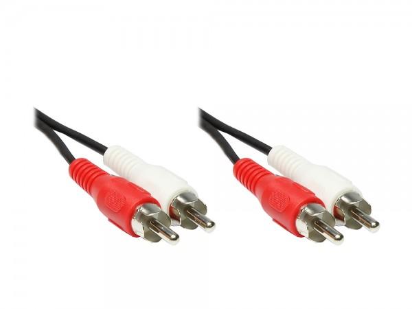 Stereo Cinchkabel, 2x Cinch Stecker an 2 x Cinch Stecker, 0,5m, Good Connections®