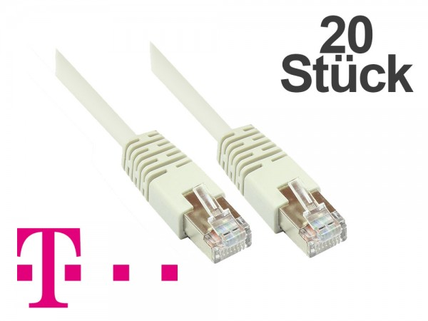 Telekom® Patchkabel, 20er PACK, Cat. 5, F/UTP, grau, zum Verbinden von Router, DSL Modem usw. 5m