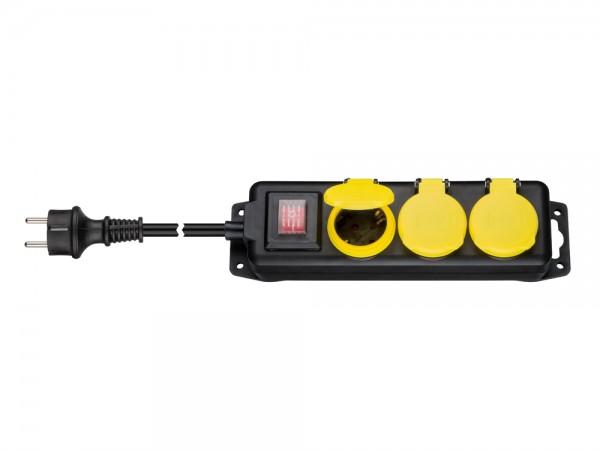 Steckdosenleiste 3-fach, mit beleuchtetem Ein-/Aus- Schalter, für den Außenbereich geeignet, schwarz / gelb, 3m