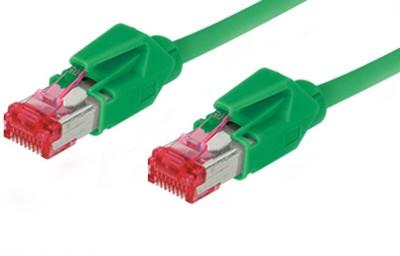 Patchkabel, Cat. 6, S/FTP, PiMF, halogenfrei, 600MHz, Hirose-Stecker, grün, 2,5m, Good Connections®