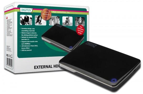 """Externes Laufwerksgehäuse 2.5"""", USB 2.0, für SATA HDD 2.5"""", ohne Netzteil,Chipsatz:JM2032, Digitus® [DA-71002]"""