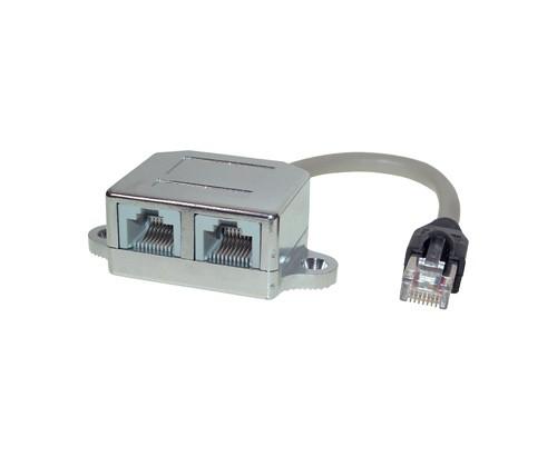 Cat. 5e T-Adapter, Netzwerkbelegung, geschirmt