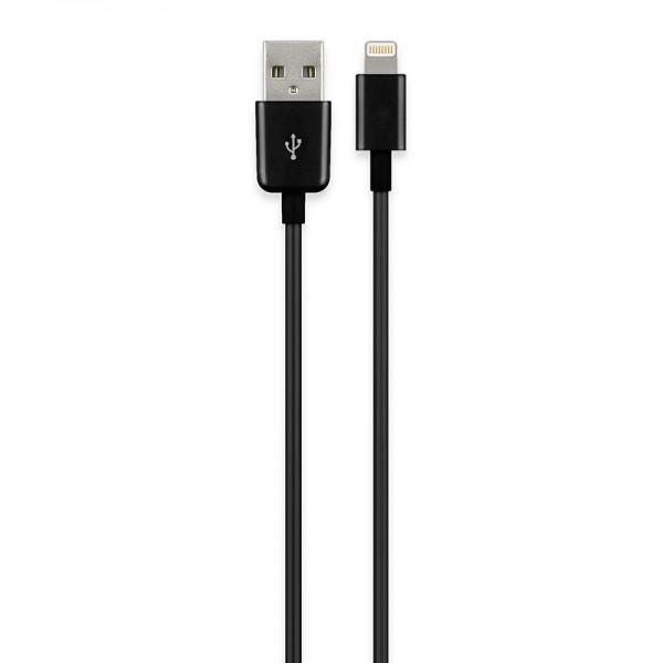 USB Sync- und Ladekabel für iPod, iPhone, iPad, Apple Lightning Connector, schwarz, 1m