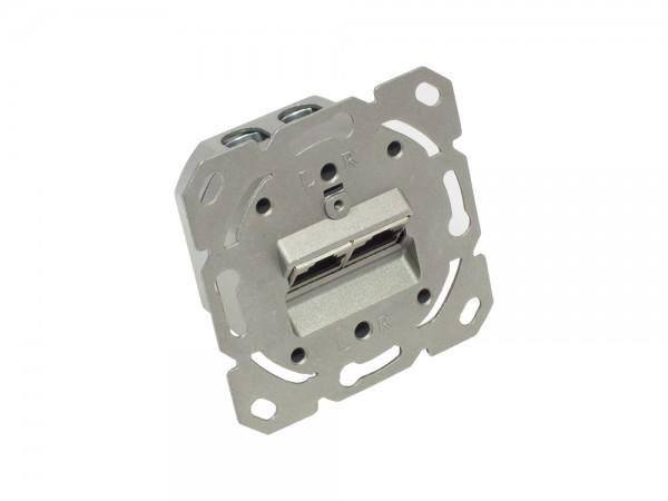 Netzwerkdose Cat. 6, 2xRJ45, geschirmt, DESIGNFÄHIG, vertikale Kabelzuführung, ohne Zentralstück/-Abdeckrahmen, Good Connections®