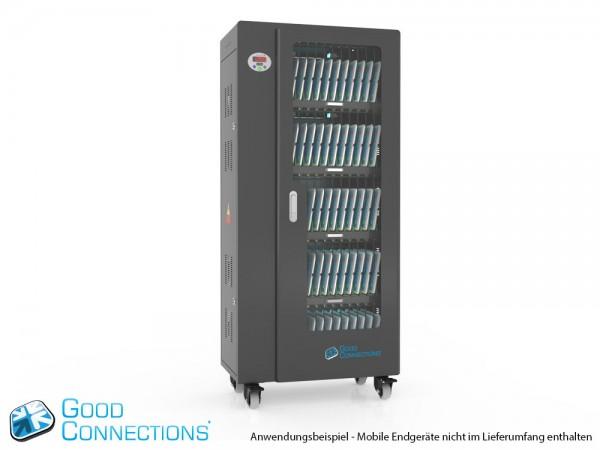 Tablet-Ladewagen für bis zu 65 Geräte, UV-C Desinfektion, Smart Control, Synchronisierungsfunktion für iOS/Android, schwarz, Good Connections®