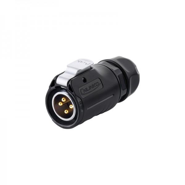 Industrie-Steckverbinder S1 - Power (4-Pin) Stecker mit Klick-Arretierung, Lötanschluss, M20, IP65/67, Good Connections®
