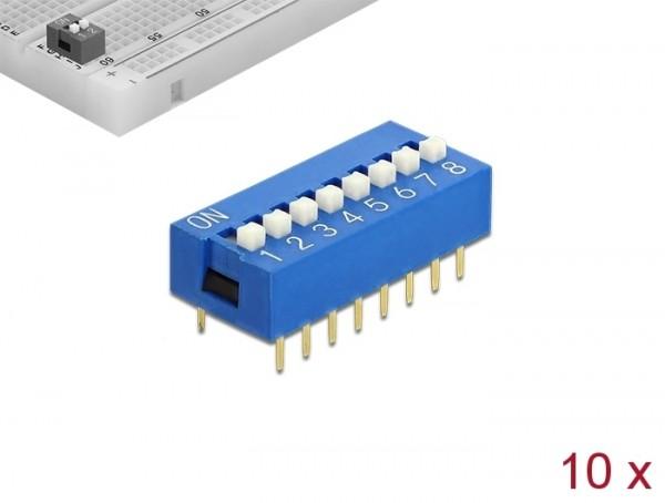 DIP-Schiebeschalter 8-stellig 2,54 mm Rastermaß THT vertikal blau 10 Stück, Delock® [66100]