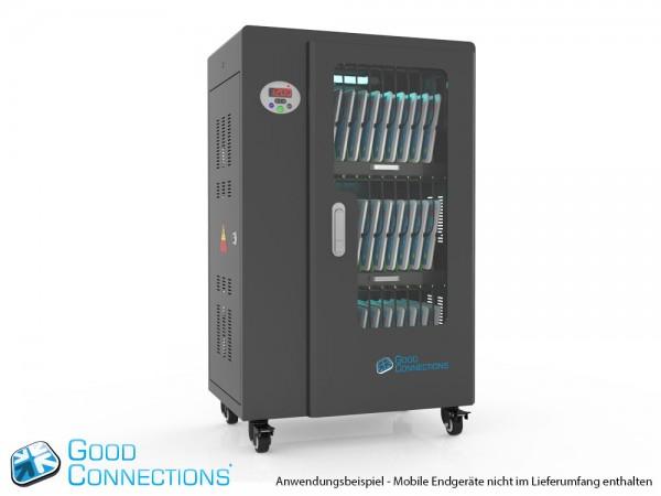 Tablet-Ladewagen für bis zu 30 Geräte, UV-C Desinfektion, Smart Control, Synchronisierungsfunktion für iOS/Android, schwarz, Good Connections®
