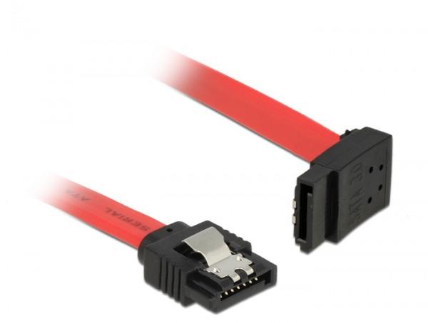 Anschlusskabel SATA 6 Gb/s Stecker gerade an SATA Stecker oben gewinkelt Metall, rot, 0,3m, Delock® [83973]