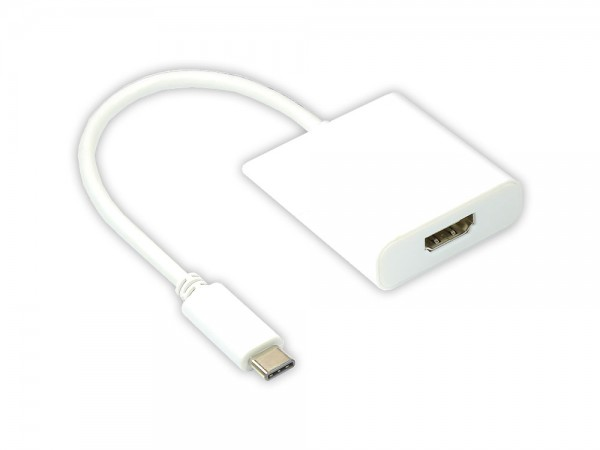Adapter USB 3.1 C Stecker an HDMI A Buchse, weiß, Länge: 14 cm, Good Connections