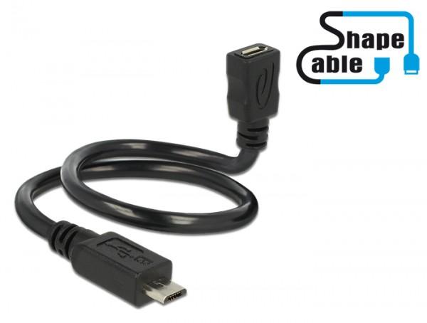 Kabel USB 2.0 Micro-B Stecker an USB 2.0 Micro-B Buchse OTG ShapeCable 0,35m, Delock® [83924]