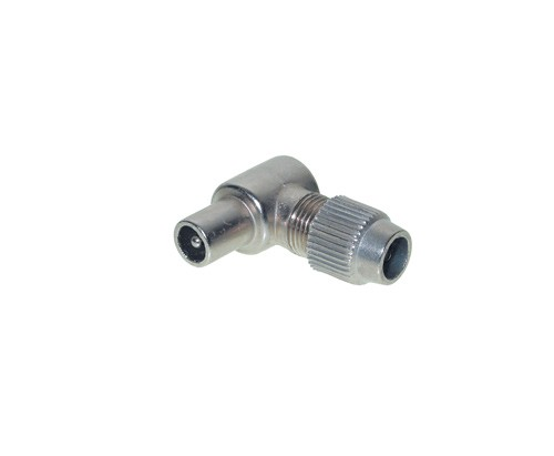 Koax-Winkelstecker 75 Ohm, Schraubanschluß, Metall, Good Connections®