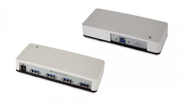 4 Port USB 3.0/ 3.1 (Gen.1) HUB mit 4x Buchse A, Upstream Buchse B, schraubbar, 3KV Optische Isolation, Netzteil 5V, Exsys® [EX-1182VIS]