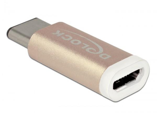 Adapter USB 2.0 Micro-B Buchse an USB Type-C™ 2.0 Stecker kupferfarben, Delock® [65677]