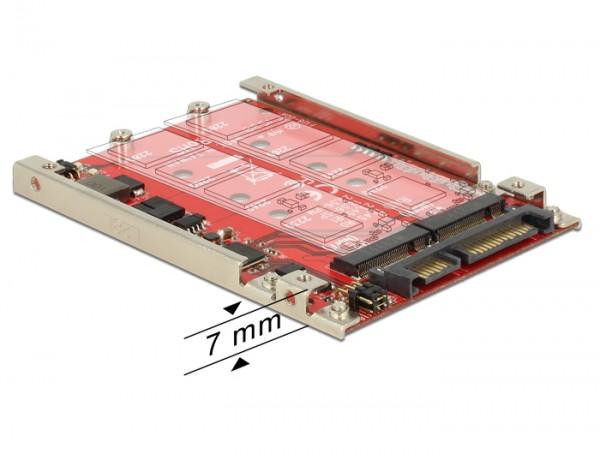"""Konverter SATA 22 Pin an 2x M.2 NGFF 2.5"""" mit RAID 7mm, Delock® [62698]"""