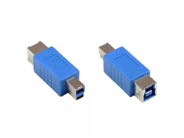 Adapter USB 3.0 Typ B Stecker auf Typ B Buchse, blau, Good Connections