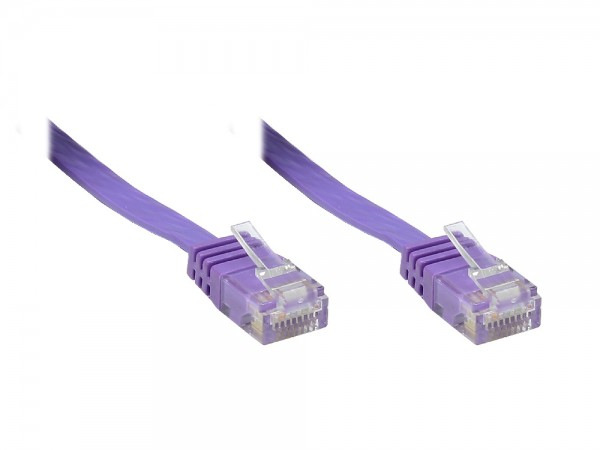 Patchkabel, Cat. 6, U/UTP, FLACHKABEL, violett, 3m, Good Connections®