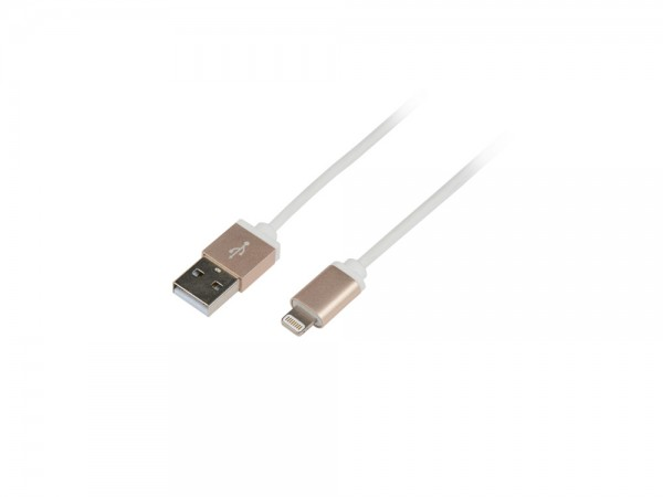 Anschlusskabel USB zu Apple® Lightning, Anschluss: Alu-Gold, weiß, 1m, LogiLink® [UA0198]