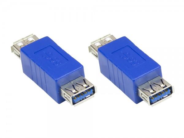 Adapter USB 3.0 Typ A Buchse an Typ A Buchse, blau, Good Connections®