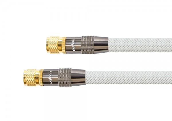 SAT Antennenkabel, F-Stecker an F-Stecker, vergoldet, Schirmmaß 120dB, 75Ohm, Nylongeflecht weiß, 1,5m, PYTHON® Series