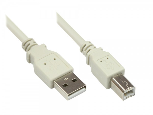 Anschlusskabel USB 2.0 Stecker A an Stecker B, grau, 3m, Good Connections®