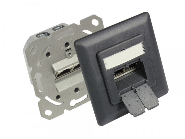 Netzwerkdose Cat. 6, 2xRJ45, geschirmt, Unterputzdose, inkl. Zentralstück und Abdeckrahmen, anthrazitgrau (matt) RAL7016, Good Connections
