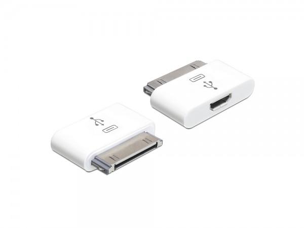 Adapter für IPhone / IPad 30 Pin Stecker an USB micro-B Buchse, Delock® [65357]