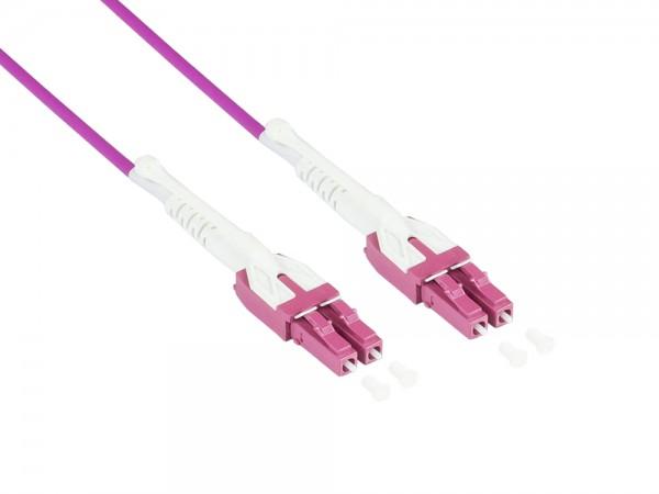 Patchkabel LWL Duplex OM4 (Multimode, 50/125) LC/LC, UNIBOOT, LSZH, austauschbare Polarität, Entriegelungslasche, 30m, Good Connections®