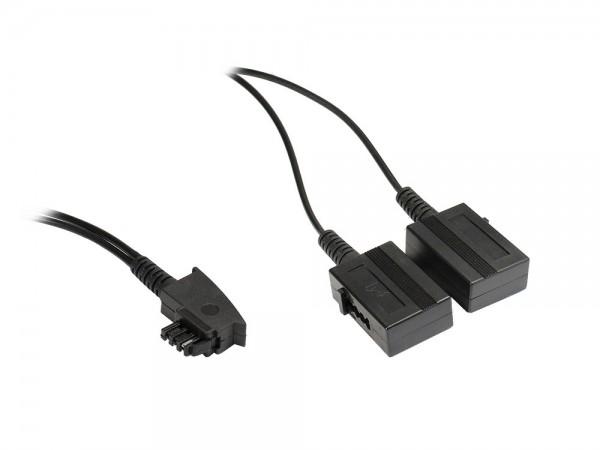 Telefon-Adapter TAE-F Stecker an 2 x TAE-F Buchse, Länge: 20cm, Good Connections®