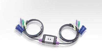 Aten® KVM-Switch, 2-fach mit Audio, mit Kabelsatz PS/2