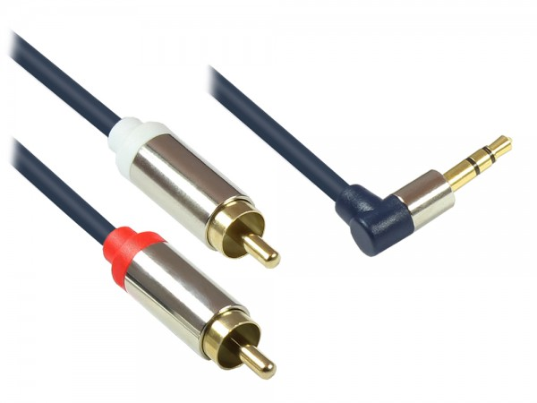 Audio Anschlusskabel High-Quality 3,5mm, Klinkenstecker rechts abgew. an 2x RCA Stecker, Vollmetallgehäuse, dunkelblau, 3m, Good Connections®