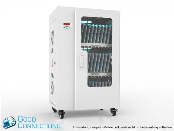 Tablet-Ladewagen für bis zu 30 Geräte, UV-C Desinfektion, Smart Control, Synchronisierungsfunktion für iOS/Android, grau, Good Connections®