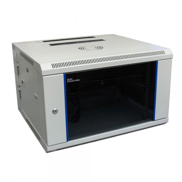 "19"" Wandgehäuse, 6HE, lichtgrau (RAL7035) Rückseite schwenkbar, 600 x 550mm, fertig montiert, mit Lüfter, Good Connections®"