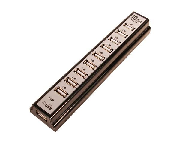 LogiLink® USB 2.0 Hub 10-Port mit Netzteil, schwarz [UA0096]