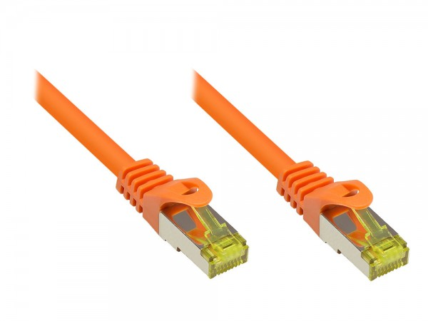 Patchkabel mit Rastnasenschutz, Cat. 7 S/FTP PiMF halogenfrei (LSOH), 600MHz, orange, 40m, Good Connections®