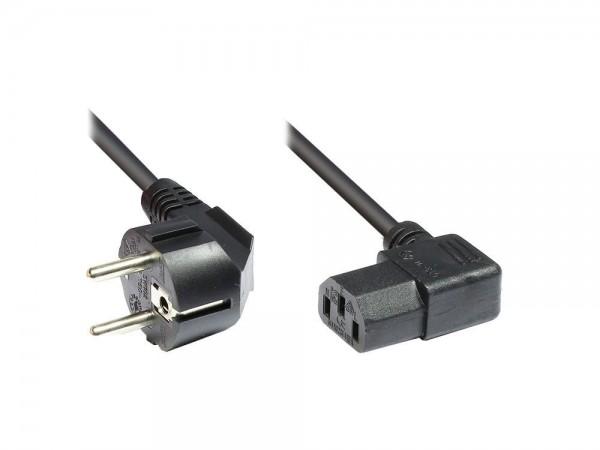 Netzkabel Schutzkontakt-Stecker an Kaltgeräte-Buchse, Typ F an C13, beidseitig rechts abgewinkelt, 5m, Good Connections®