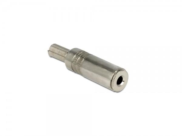Stereo Klinkenbuchse 3,5mm 3 Pin mit Knickschutz, silber, Delock® [65535]