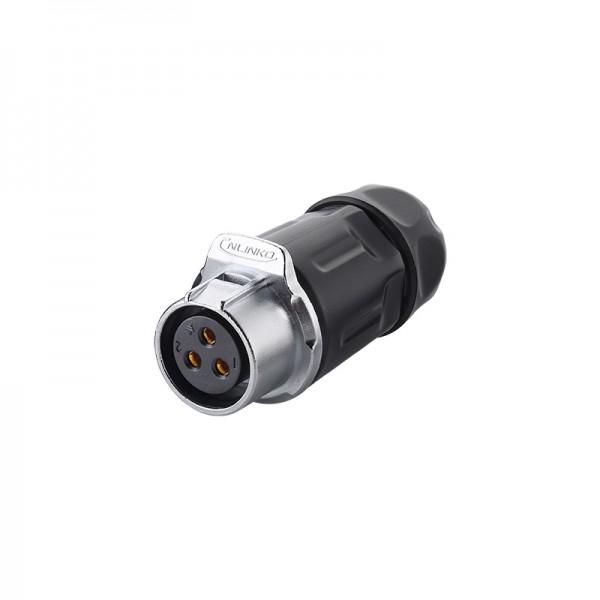 Industrie-Steckverbinder S1 - Power (3-Pin) Buchsenstecker mit Klick-Arretierung, Lötanschluss, M20, IP65/67, Good Connections®