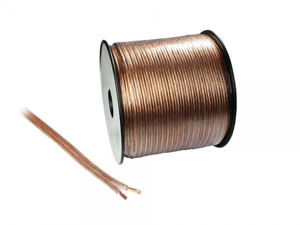 Lautsprecherkabel Basic, 2x 1,5mm², Innenleiter CCA, transparent, 100m Spule, Good Connections®